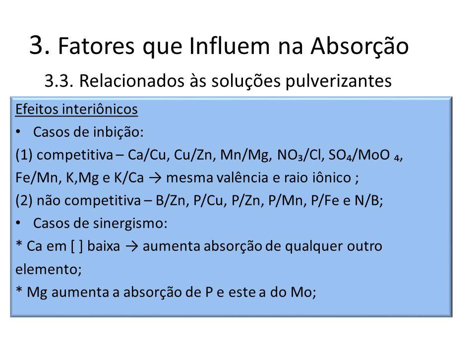 Efeitos interiônicos Casos de inbição: (1) competitiva – Ca/Cu, Cu/Zn, Mn/Mg, NO/Cl, SO/MoO, Fe/Mn, K,Mg e K/Ca mesma valência e raio iônico ; (2) não