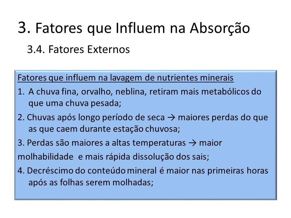 3. Fatores que Influem na Absorção Fatores que influem na lavagem de nutrientes minerais 1.A chuva fina, orvalho, neblina, retiram mais metabólicos do