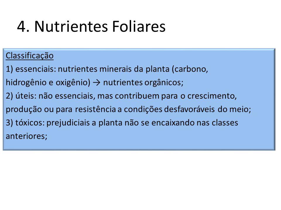 4. Nutrientes Foliares Classificação 1) essenciais: nutrientes minerais da planta (carbono, hidrogênio e oxigênio) nutrientes orgânicos; 2) úteis: não