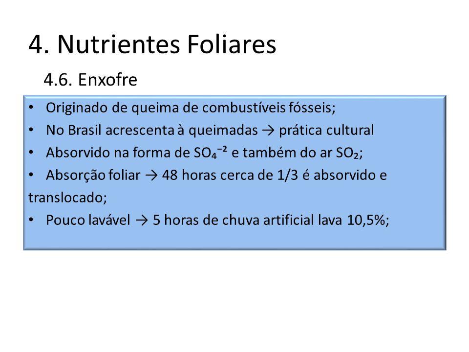 4. Nutrientes Foliares Originado de queima de combustíveis fósseis; No Brasil acrescenta à queimadas prática cultural Absorvido na forma de SO² e tamb