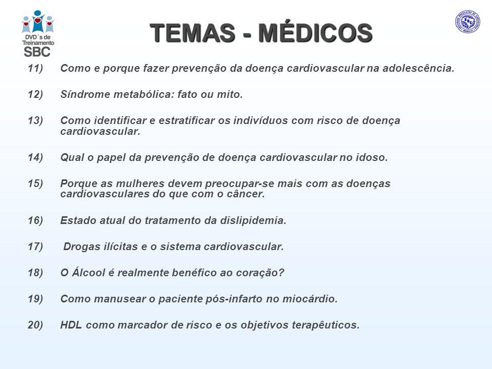 TEMAS - MÉDICOS 11)Como e porque fazer prevenção da doença cardiovascular na adolescência. 12)Síndrome metabólica: fato ou mito. 13)Como identificar e