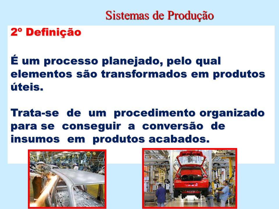 Sistemas de Produção Sistemas de Produção 2º Definição É um processo planejado, pelo qual elementos são transformados em produtos úteis. Trata-se de u