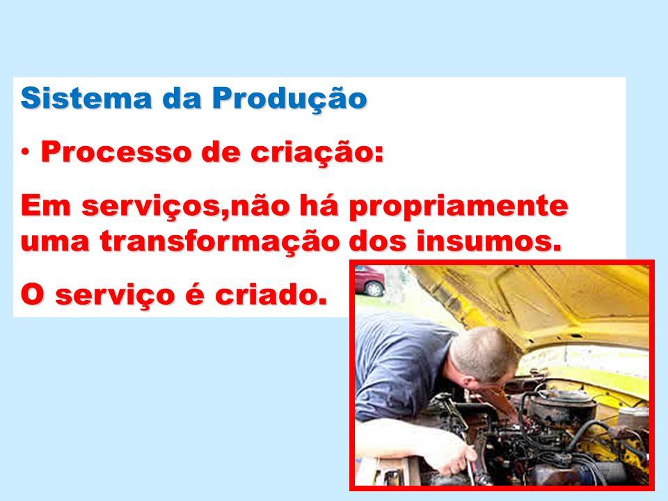 Sistema da Produção Processo de criação: Em serviços,não há propriamente uma transformação dos insumos. O serviço é criado.