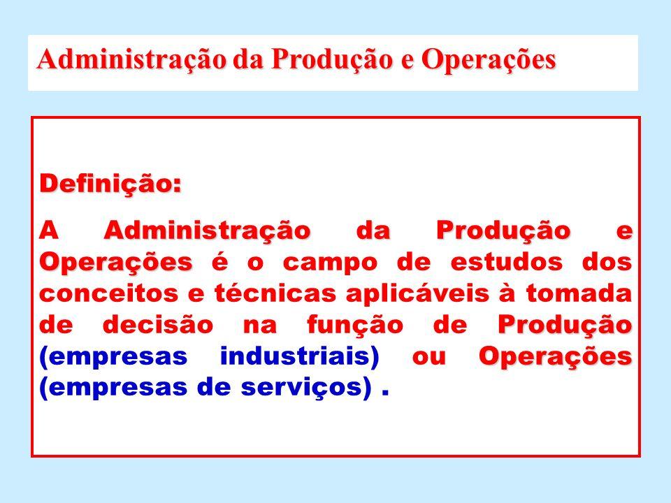 Definição: Administração da Produção e Operações Produção Operações A Administração da Produção e Operações é o campo de estudos dos conceitos e técni