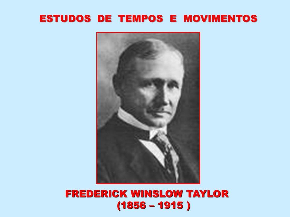 FREDERICK WINSLOW TAYLOR (1856 – 1915 ) (1856 – 1915 ) ESTUDOS DE TEMPOS E MOVIMENTOS