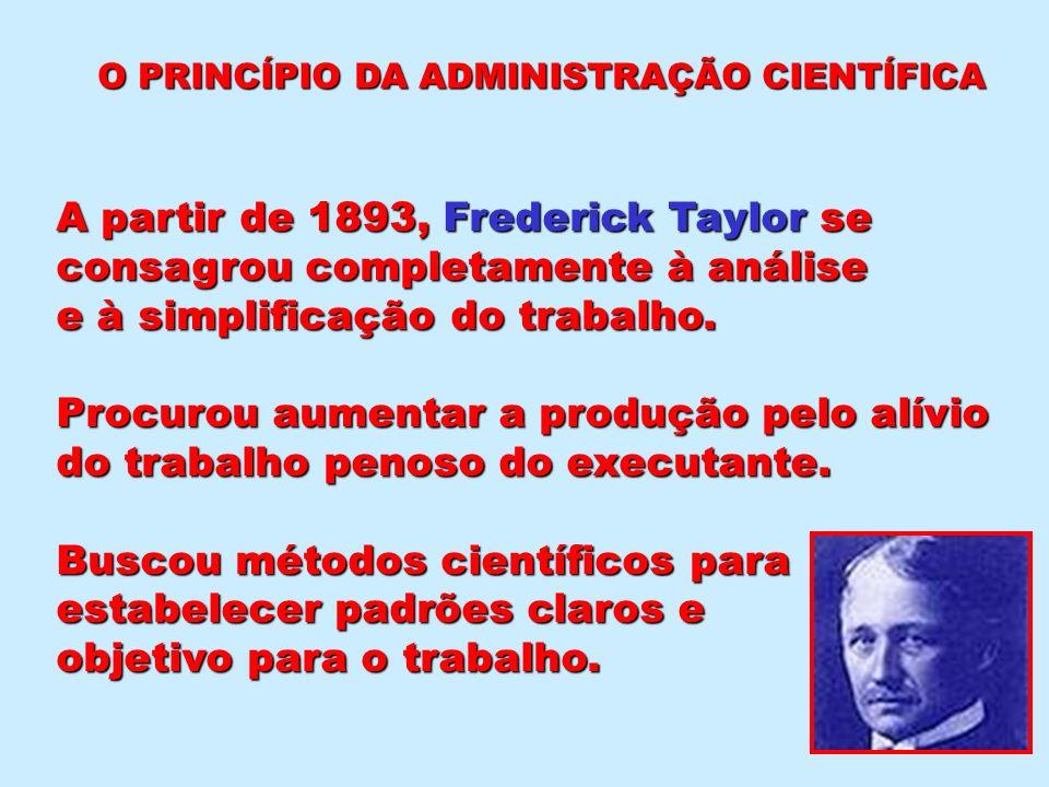 O PRINCÍPIO DA ADMINISTRAÇÃO CIENTÍFICA A partir de 1893, Frederick Taylor se consagrou completamente à análise e à simplificação do trabalho. Procuro