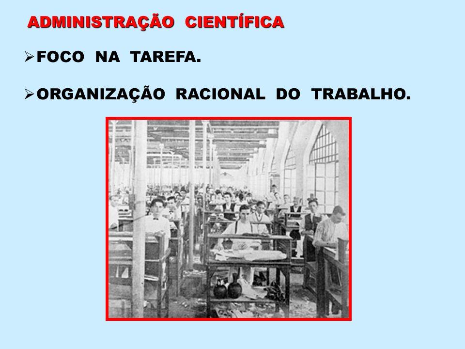 ADMINISTRAÇÃO CIENTÍFICA FOCO NA TAREFA. ORGANIZAÇÃO RACIONAL DO TRABALHO.