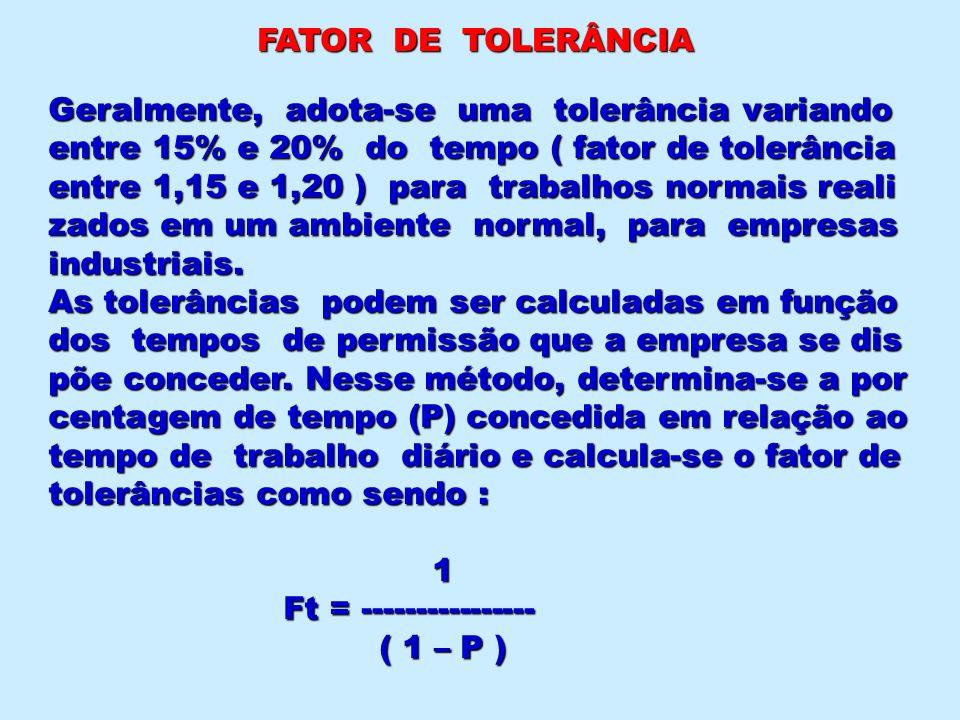 FATOR DE TOLERÂNCIA Geralmente, adota-se uma tolerância variando entre 15% e 20% do tempo ( fator de tolerância entre 1,15 e 1,20 ) para trabalhos nor