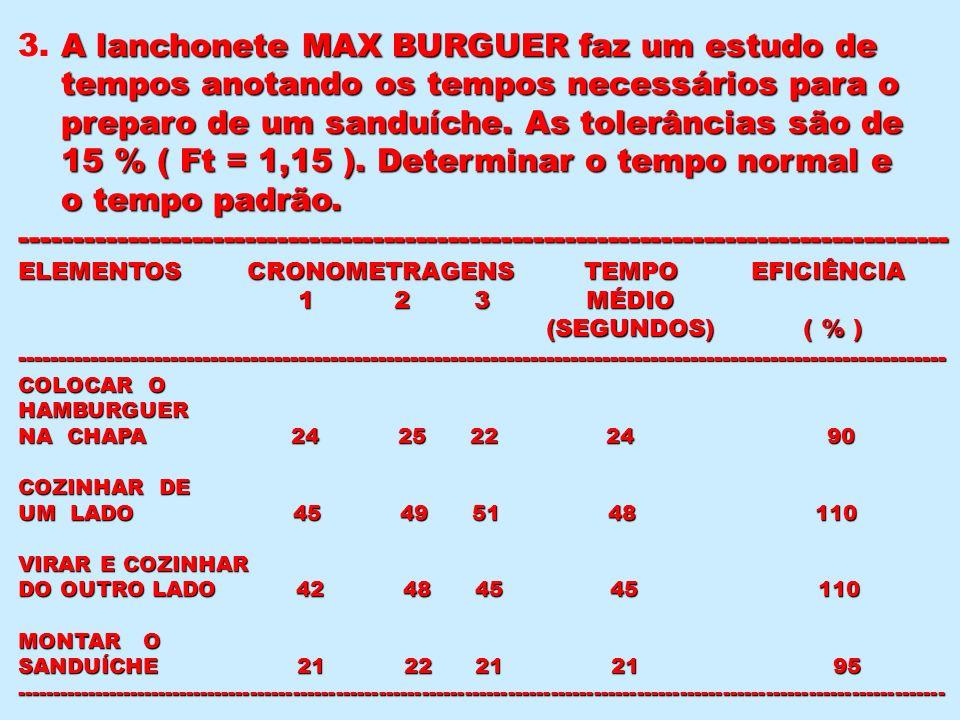 A lanchonete MAX BURGUER faz um estudo de 3. A lanchonete MAX BURGUER faz um estudo de tempos anotando os tempos necessários para o tempos anotando os
