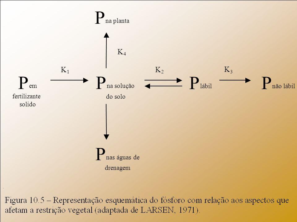 P na planta P na solução do solo P nas águas de drenagem P lábil P não lábil P em fertilizante solido K 4 K 3 K 2 K 1