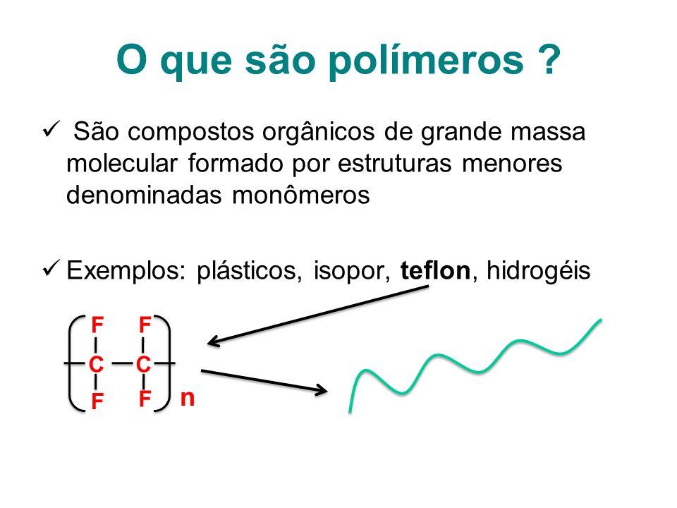 O que são polímeros ? São compostos orgânicos de grande massa molecular formado por estruturas menores denominadas monômeros Exemplos: plásticos, isop