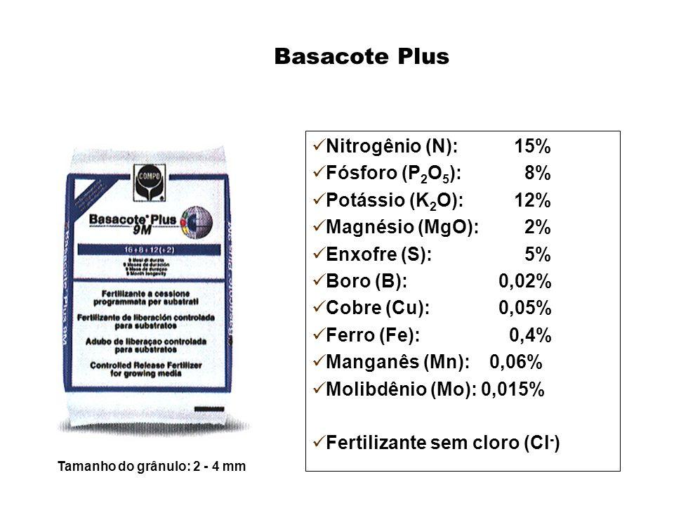 Tamanho do grânulo: 2 - 4 mm Basacote Plus Nitrogênio (N):15% Fósforo (P 2 O 5 ): 8% Potássio (K 2 O):12% Magnésio (MgO): 2% Enxofre (S): 5% Boro (B):