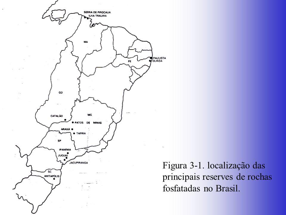 Figura 3-1. localização das principais reserves de rochas fosfatadas no Brasil.