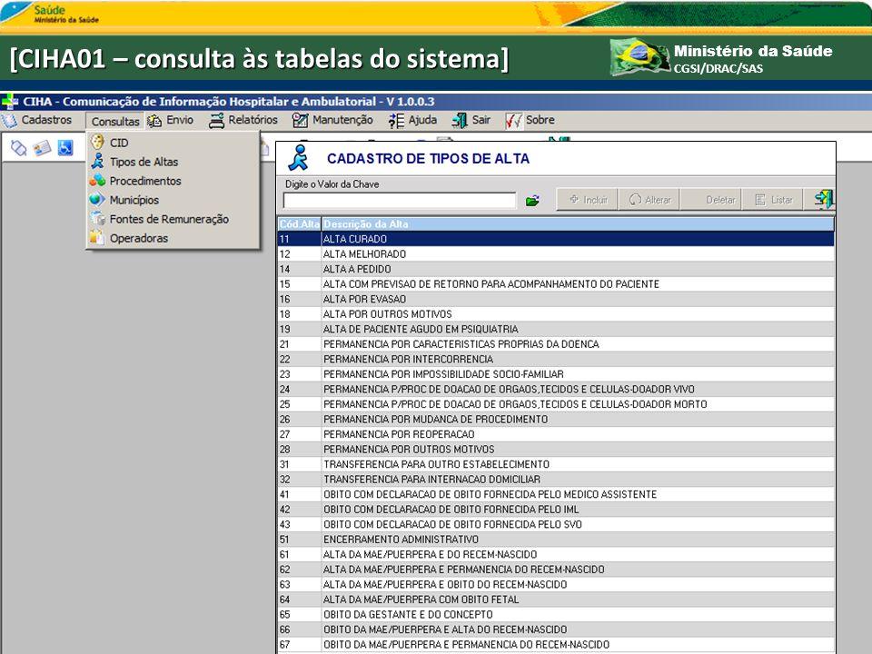 Ministério da Saúde CGSI/DRAC/SAS [CIHA01 – consulta às tabelas do sistema]