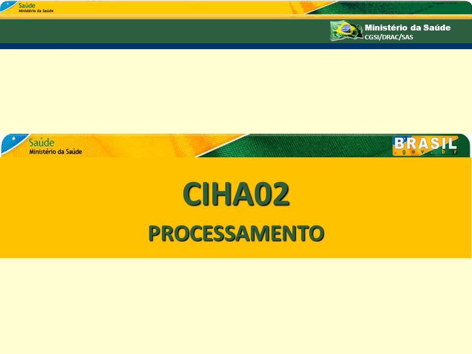 Ministério da Saúde CGSI/DRAC/SAS CIHA02PROCESSAMENTO