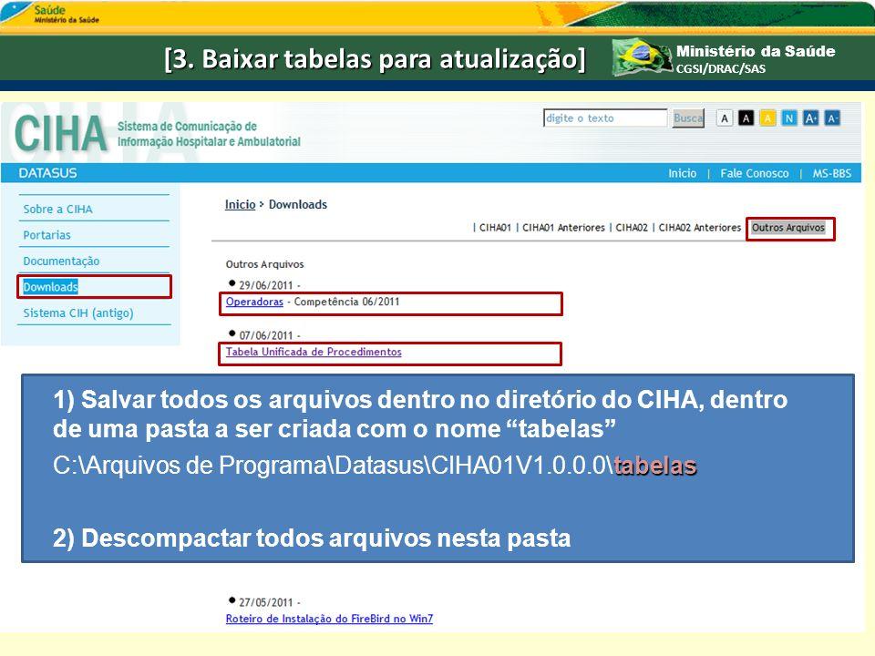 Ministério da Saúde CGSI/DRAC/SAS [3. Baixar tabelas para atualização] 1) Salvar todos os arquivos dentro no diretório do CIHA, dentro de uma pasta a