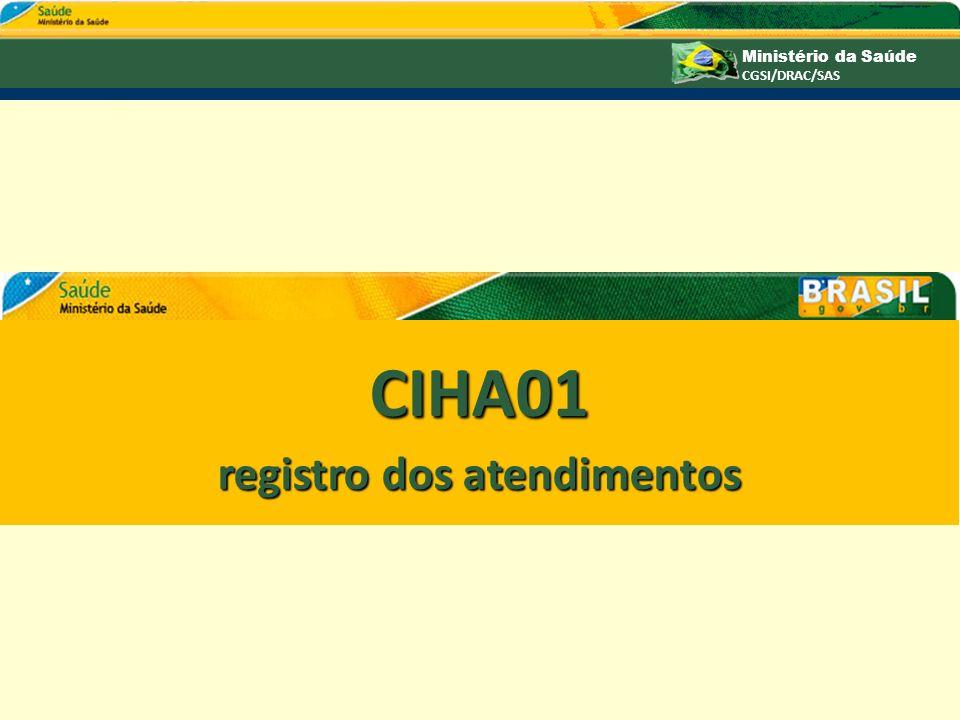 Ministério da Saúde CGSI/DRAC/SAS CIHA01 registro dos atendimentos