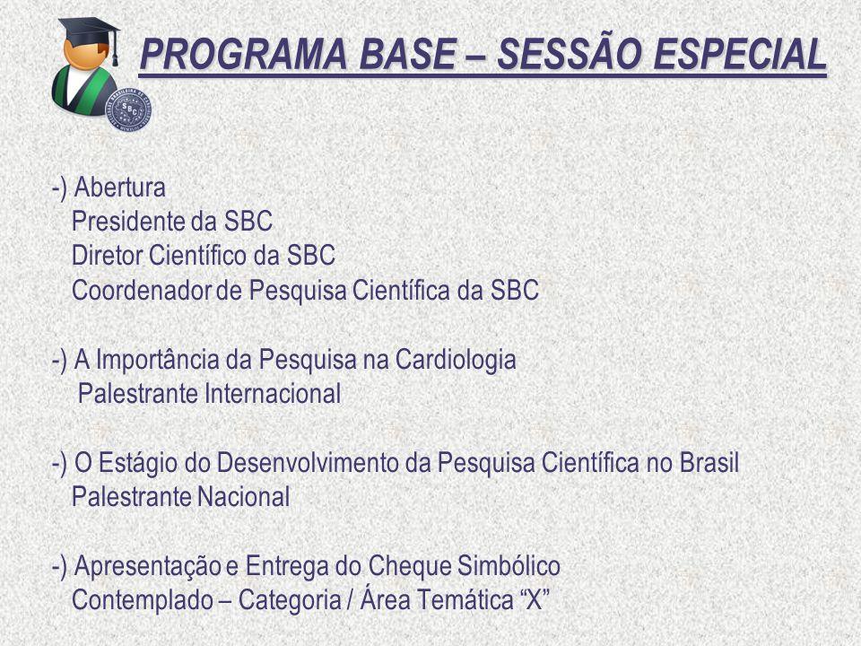PROGRAMA BASE – SESSÃO ESPECIAL PROGRAMA BASE – SESSÃO ESPECIAL -) Abertura Presidente da SBC Diretor Científico da SBC Coordenador de Pesquisa Cientí