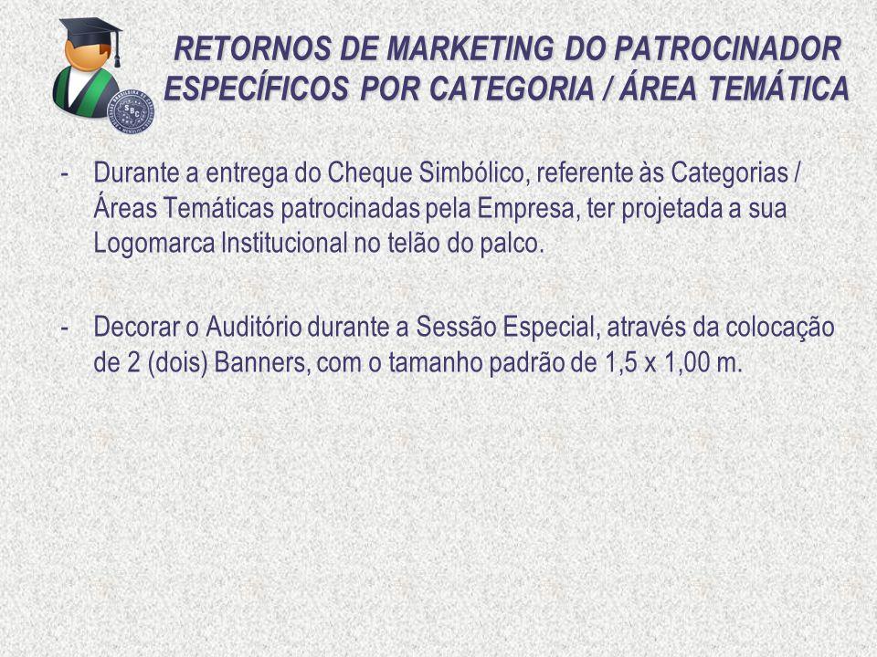 RETORNOS DE MARKETING DO PATROCINADOR ESPECÍFICOS POR CATEGORIA / ÁREA TEMÁTICA -Durante a entrega do Cheque Simbólico, referente às Categorias / Área