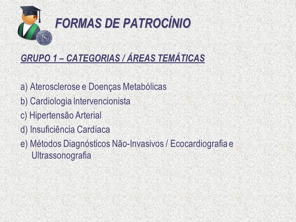 FORMAS DE PATROCÍNIO GRUPO 1 – CATEGORIAS / ÁREAS TEMÁTICAS a) Aterosclerose e Doenças Metabólicas b) Cardiologia Intervencionista c) Hipertensão Arte