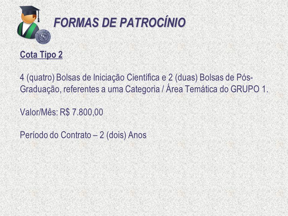 FORMAS DE PATROCÍNIO Cota Tipo 2 4 (quatro) Bolsas de Iniciação Científica e 2 (duas) Bolsas de Pós- Graduação, referentes a uma Categoria / Área Temá