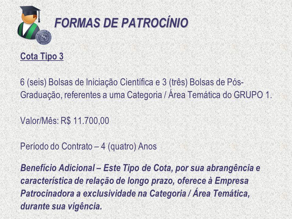 FORMAS DE PATROCÍNIO Cota Tipo 3 6 (seis) Bolsas de Iniciação Científica e 3 (três) Bolsas de Pós- Graduação, referentes a uma Categoria / Área Temáti