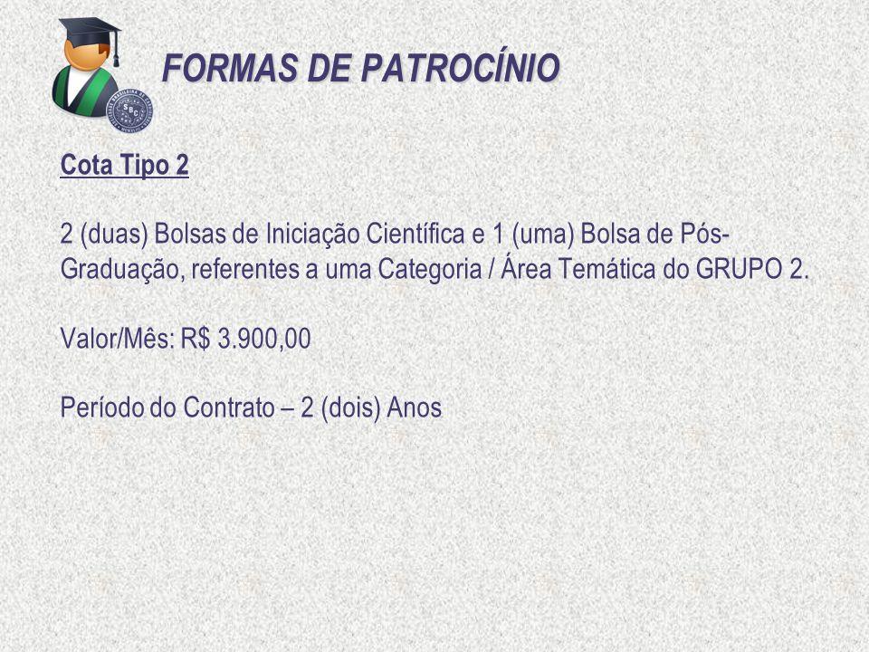 FORMAS DE PATROCÍNIO Cota Tipo 2 2 (duas) Bolsas de Iniciação Científica e 1 (uma) Bolsa de Pós- Graduação, referentes a uma Categoria / Área Temática