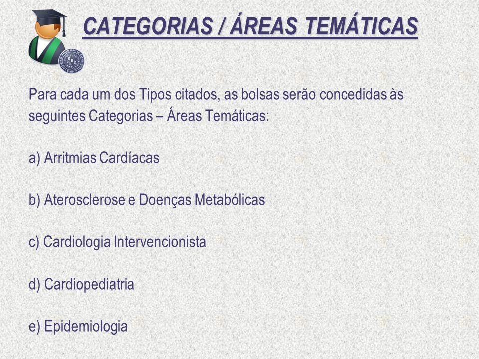 CATEGORIAS / ÁREAS TEMÁTICAS CATEGORIAS / ÁREAS TEMÁTICAS Para cada um dos Tipos citados, as bolsas serão concedidas às seguintes Categorias – Áreas T