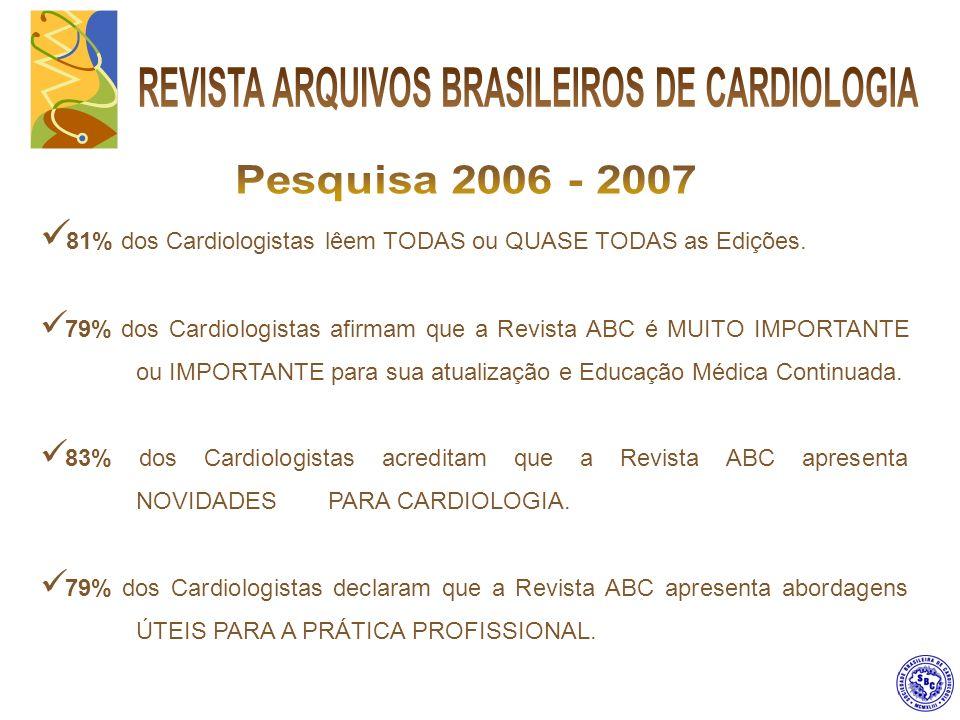 Publicação com alta credibilidade junto aos seus leitores, conquistada a base de rigor nas informações científicas, atualizadas e relevantes para a classe médica, os Cardiologistas em especial.