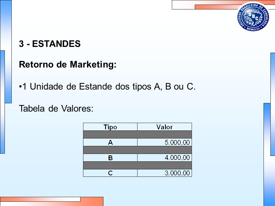 3 - ESTANDES Retorno de Marketing: 1 Unidade de Estande dos tipos A, B ou C. Tabela de Valores: