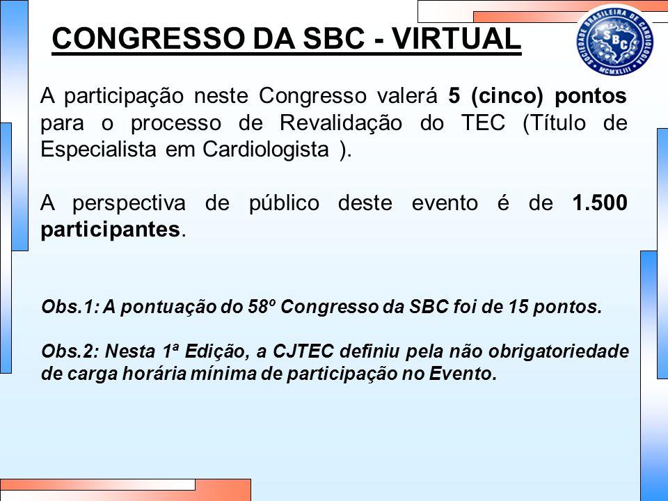 CONGRESSO DA SBC - VIRTUAL A participação neste Congresso valerá 5 (cinco) pontos para o processo de Revalidação do TEC (Título de Especialista em Car