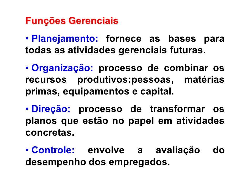 Funções Gerenciais Planejamento: fornece as bases para todas as atividades gerenciais futuras. Organização: processo de combinar os recursos produtivo