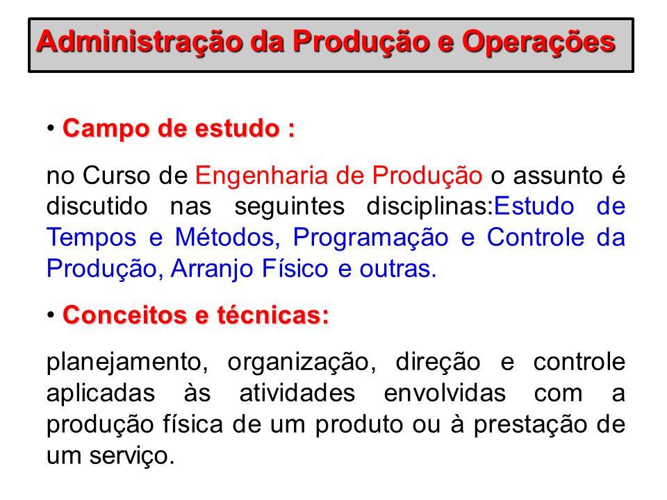 Campo de estudo : no Curso de Engenharia de Produção o assunto é discutido nas seguintes disciplinas:Estudo de Tempos e Métodos, Programação e Control
