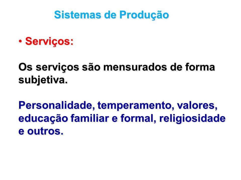 Sistemas de Produção Serviços: Serviços: Os serviços são mensurados de forma subjetiva. Personalidade, temperamento, valores, educação familiar e form