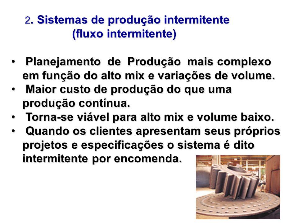 2. Sistemas de produção intermitente 2. Sistemas de produção intermitente (fluxo intermitente) (fluxo intermitente) Planejamento de Produção mais comp