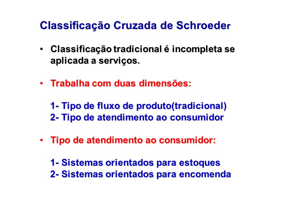 Classificação Cruzada de Schroede r Classificação tradicional é incompleta se aplicada a serviços.Classificação tradicional é incompleta se aplicada a
