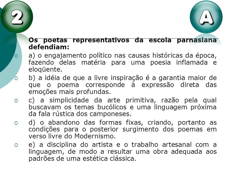 Os poetas representativos da escola parnasiana defendiam: a) o engajamento político nas causas históricas da época, fazendo delas matéria para uma poe