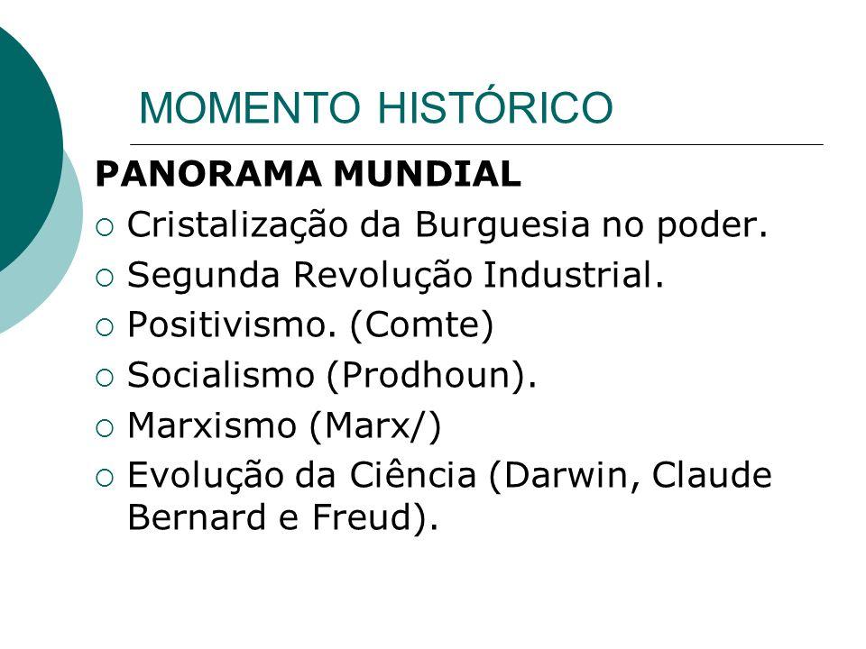 MOMENTO HISTÓRICO PANORAMA MUNDIAL Cristalização da Burguesia no poder.