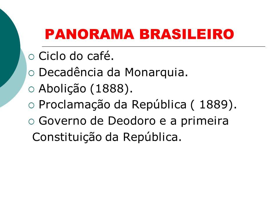 PANORAMA BRASILEIRO Ciclo do café.Decadência da Monarquia.