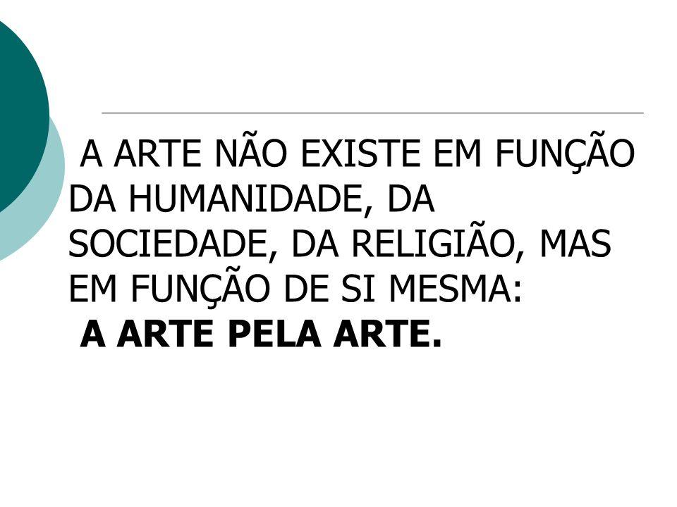 A ARTE NÃO EXISTE EM FUNÇÃO DA HUMANIDADE, DA SOCIEDADE, DA RELIGIÃO, MAS EM FUNÇÃO DE SI MESMA: A ARTE PELA ARTE.