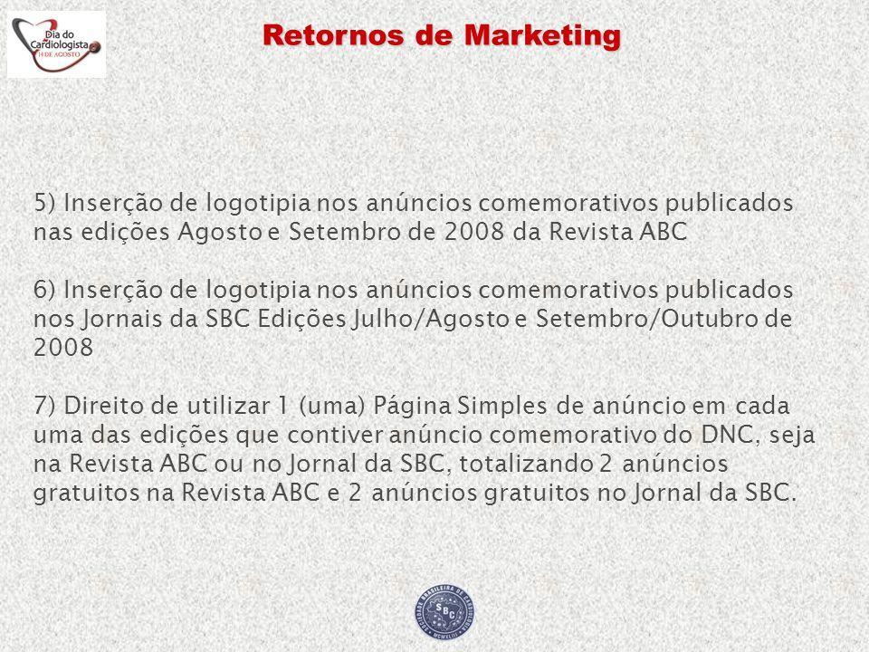 Retornos de Marketing 5) Inserção de logotipia nos anúncios comemorativos publicados nas edições Agosto e Setembro de 2008 da Revista ABC 6) Inserção
