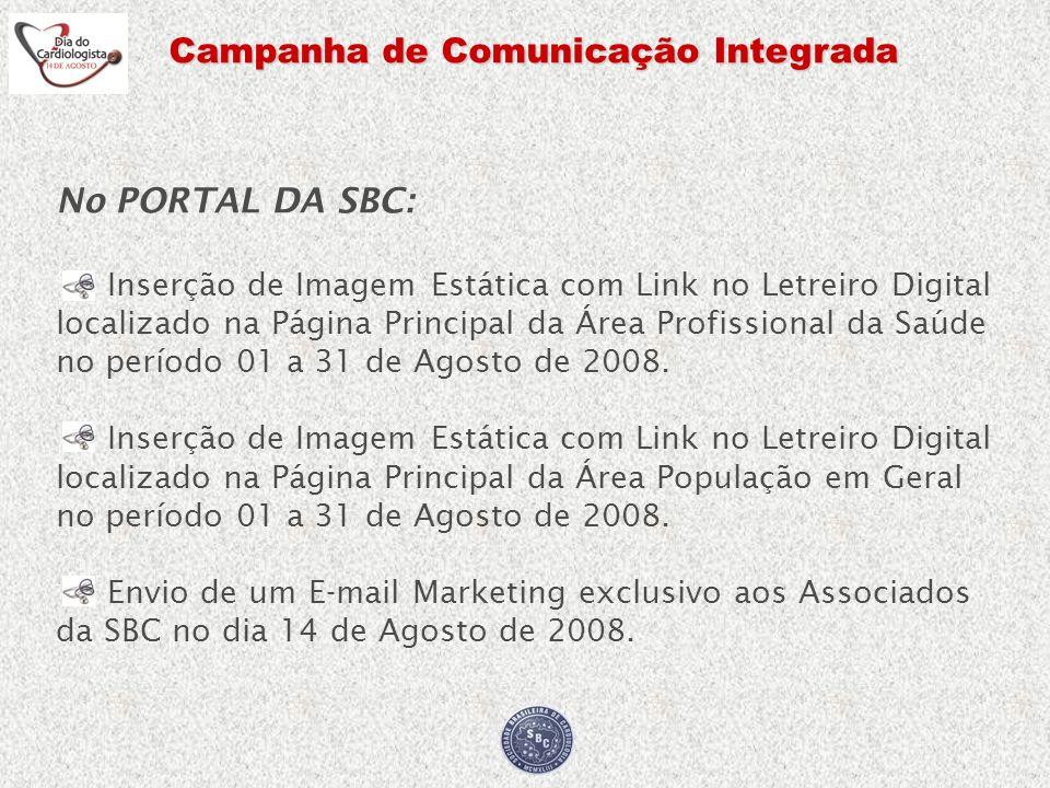Campanha de Comunicação Integrada No PORTAL DA SBC: Inserção de Imagem Estática com Link no Letreiro Digital localizado na Página Principal da Área Pr
