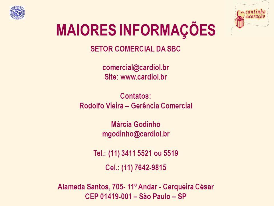 MAIORES INFORMAÇÕES SETOR COMERCIAL DA SBC comercial@cardiol.br Site: www.cardiol.br Contatos: Rodolfo Vieira – Gerência Comercial Márcia Godinho mgodinho@cardiol.br Tel.: (11) 3411 5521 ou 5519 Cel.: (11) 7642-9815 Alameda Santos, 705- 11º Andar - Cerqueira César CEP 01419-001 – São Paulo – SP