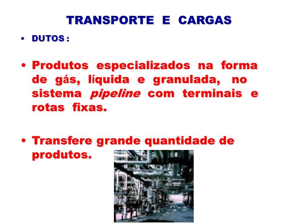 TRANSPORTE E CARGAS DUTOS :DUTOS : Produtos especializados na forma de g á s, l í quida e granulada, no sistema pipeline com terminais e rotas fixas.P
