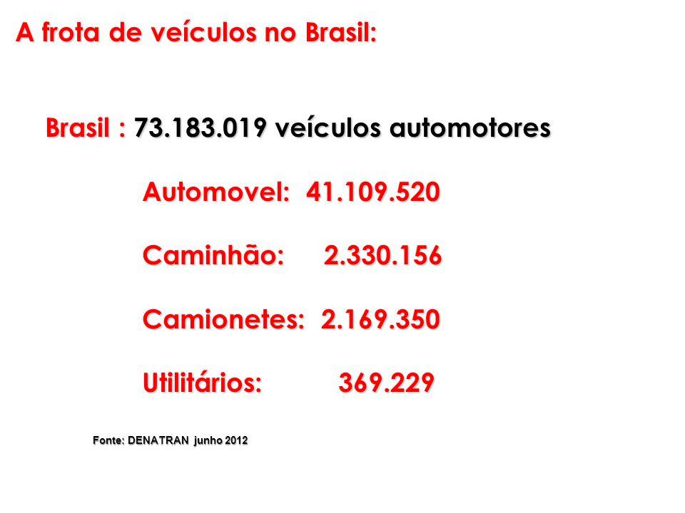 A frota de veículos no Brasil: Brasil : 73.183.019 veículos automotores Brasil : 73.183.019 veículos automotores Automovel: 41.109.520 Automovel: 41.1