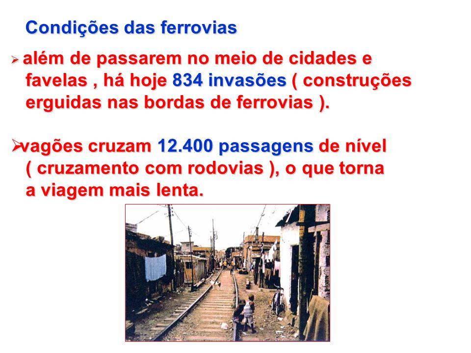 Condições das ferrovias além de passarem no meio de cidades e além de passarem no meio de cidades e favelas, há hoje 834 invasões ( construções favela