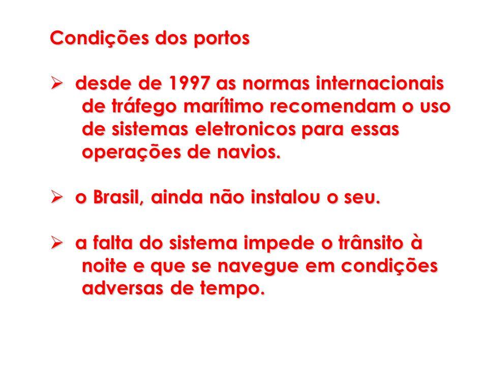 Condições dos portos desde de 1997 as normas internacionais desde de 1997 as normas internacionais de tráfego marítimo recomendam o uso de tráfego mar