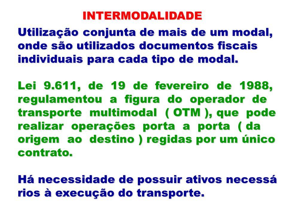 INTERMODALIDADE Utilização conjunta de mais de um modal, onde são utilizados documentos fiscais individuais para cada tipo de modal. Lei 9.611, de 19
