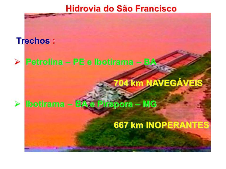 Trechos : Trechos : Petrolina – PE e Ibotirama – BA Petrolina – PE e Ibotirama – BA 704 km NAVEGÁVEIS 704 km NAVEGÁVEIS Ibotirama – BA e Pirapora – MG