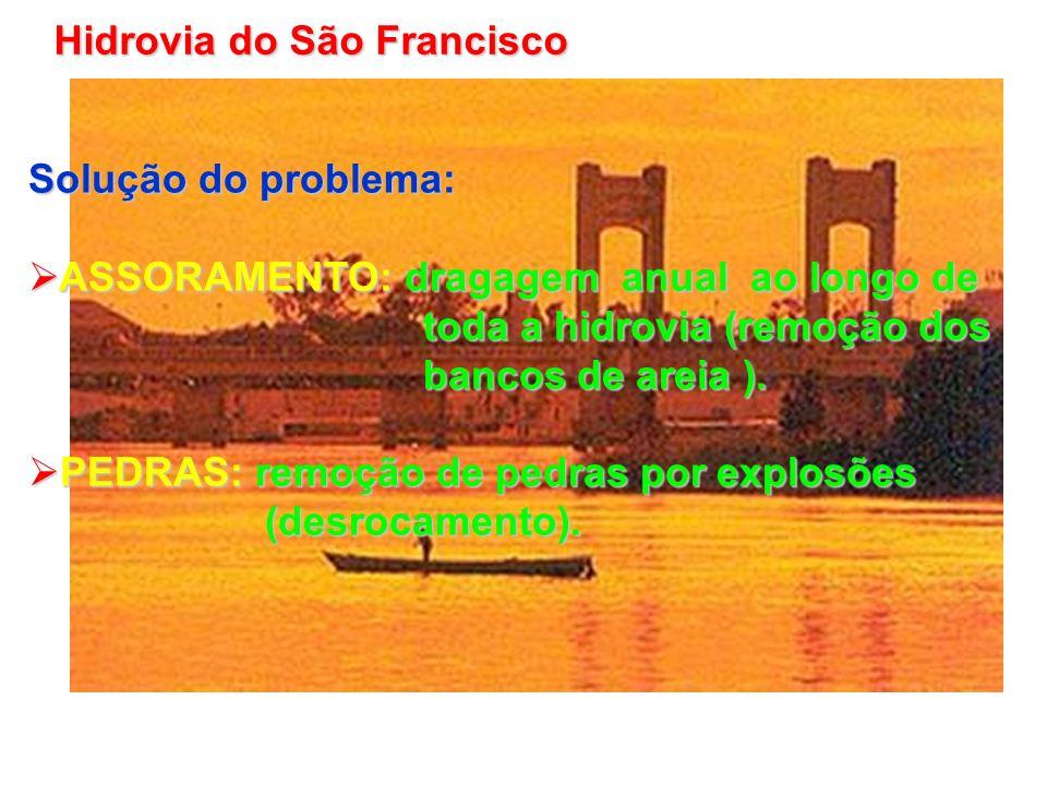Solução do problema: ASSORAMENTO: dragagem anual ao longo de ASSORAMENTO: dragagem anual ao longo de toda a hidrovia (remoção dos toda a hidrovia (rem